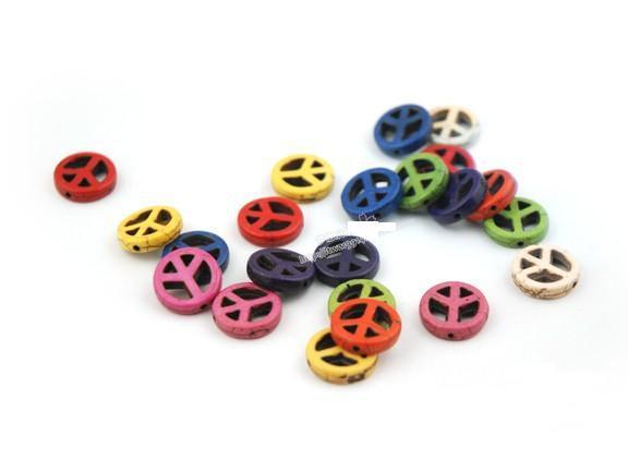 Cuentas de diy de 15 mm teñidas turquesa paz perlas dispersas multicolor opcional 300 unids