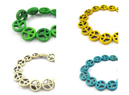 Wholesale Dyed Turquoise Beads - 15mm diy beads Dyed turquoise peace scattered beads multicolor optional 300pcs