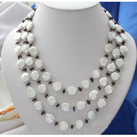 Wholesale Coin Freshwater Pearl Necklaces Jewelry - New Arrive Christmas Gift Jewelry 3Row AA 4-12MM White Coin Freshwater Pearl & Garnet Necklace