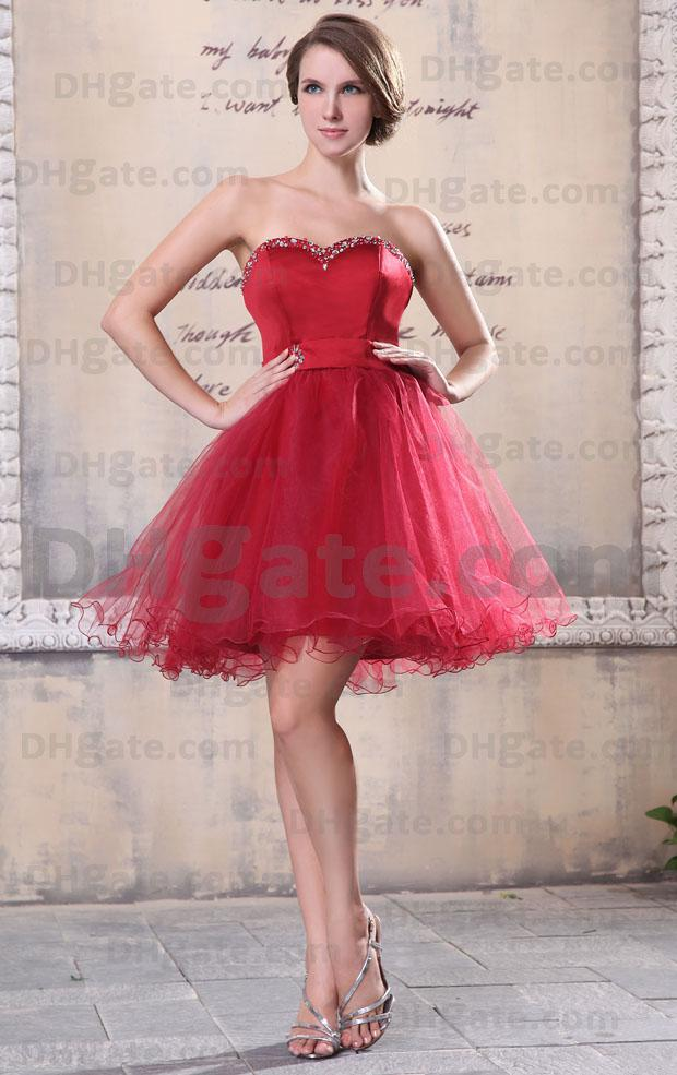 Sexy Red Sweetheart Beaded Cocktail Dresses Corset Organza Puffy ...