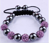 Wholesale Crystal Macrame Beaded Bracelet - 10MM Disco Magnetite Ball Beads Macrame Clay Crystal Bracelet FRIENDSHIP DISCO BALL BRACELETS