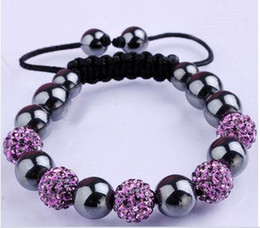 Wholesale Disco Ball Resin - 10MM Disco Magnetite Ball Beads Macrame Clay Crystal Bracelet FRIENDSHIP DISCO BALL BRACELETS