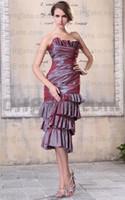 Wholesale Tea Length Dress Actual Image - Ruffles Neck Mother Of The Brides Dress Tea Length Ruched Taffeta Skirt Real Actual Images 9295
