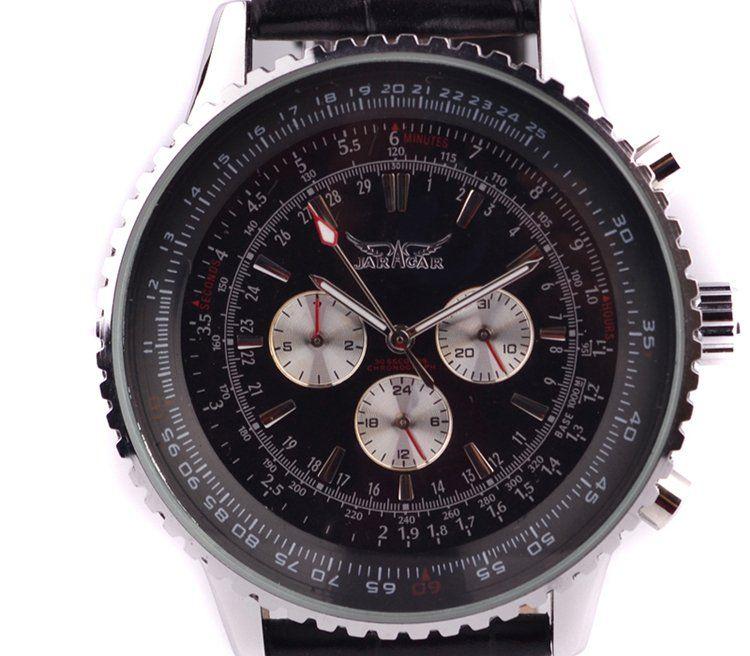 neue jaragar große klassische marke luxus männer leder tauchen mechanische weiße zifferblatt schweizer mens armbanduhren