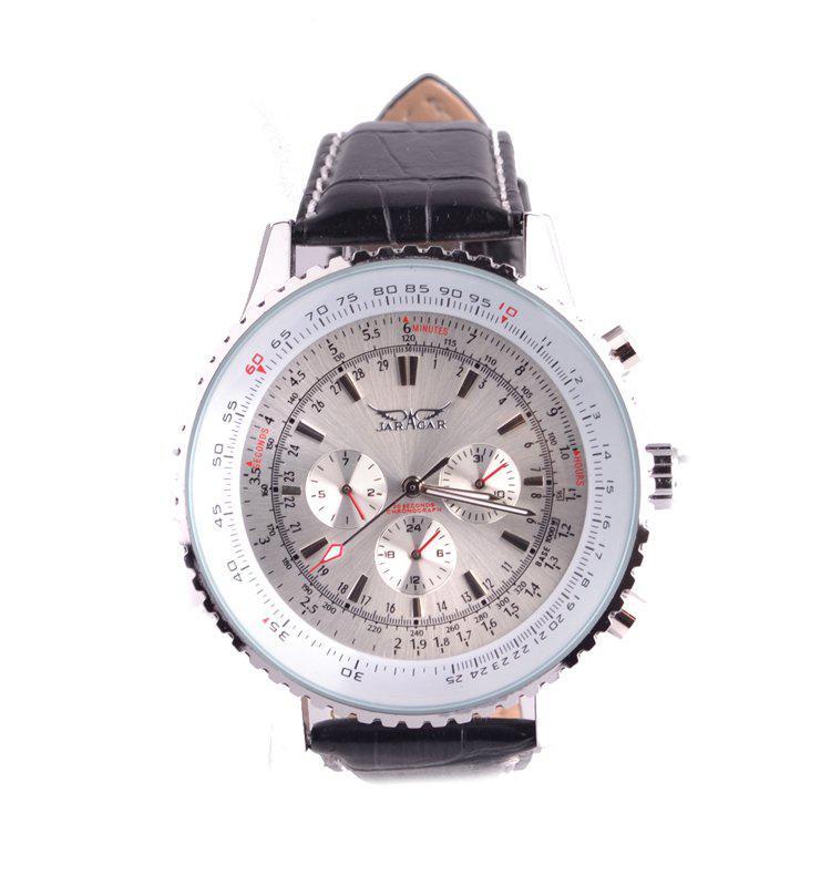 Nouveau jaragar grand classique marque luxe hommes en cuir plongée mécanique cadran blanc suisse mens montres au poignet