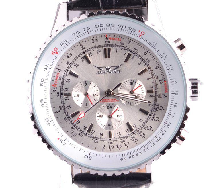 New jaragar grande clássico marca de luxo homens de couro mergulho mecânico branco discagem suíça mens relógios de pulso