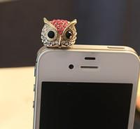 Wholesale Dustproof Plug Owl - full crystal dismond Owl dustproof ear cap iphone anti-dust plug phone Jewelry 3.5mm c120