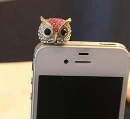 Wholesale Owl Earphone Jack - full crystal dismond Owl dustproof ear cap iphone anti-dust plug phone Jewelry 3.5mm c120