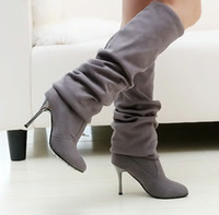 Style nouveau style chaussure à talons hauts long boot rider boot stretch velvet with high 6cm black grey hee