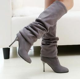 Wholesale Black Velvet Heels Women - new style women boot high heel long boot rider boot stretch velvet with high 6cm black gray high hee
