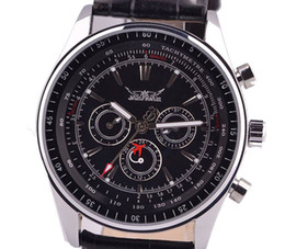 Wholesale Diving China Watches - jaragar top brand china men leather mechanical stainless black dial mens automatic wrist watch dive