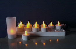 Wholesale 12 Led Rechargeable Candles - Rechargeable candle lights 12 e-wax LED candle lamps yellow tea light