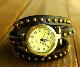 Wholesale Bracelets Grain - Fashion Women's Full Grain Cowhide Stud Soft Real Leather Bracelet Watch Shamballa Ladys Watches