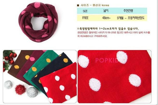 Fashion Baby Winter Warm Scarf Boy Girl Knitted dots Scarves children outdoor collar 6 colors XMAS