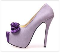 Wholesale Sexy Beige Platform Heels - 4 Colors Sexy Purple Bow Pumps Peep-Toe Fantastic High Platform Stiletto Heel Dress Shoes