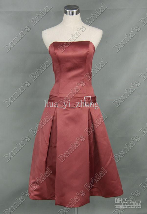 리본 벨트 DB294 라인 Strapless Pleated 차 길이 새틴 들러리 드레스 드레스