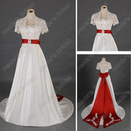 Manches En Satin Rouge Pas Cher-Vintage Lace Short Sleeves A Line Robes de mariée avec Red Long Sash Real Real Images DB295