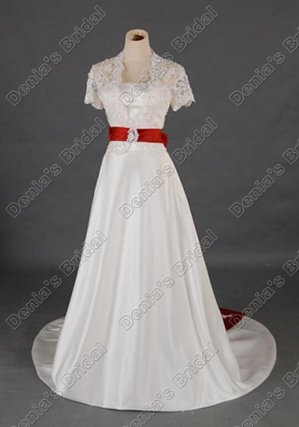 Vintage dentelle manches courtes une ligne robes de mariée avec longue ceinture rouge réel Images réelles DB295