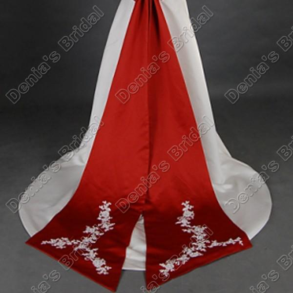 ヴィンテージのレース半袖赤の長いサッシの実際の画像DB295の線のウェディングドレス