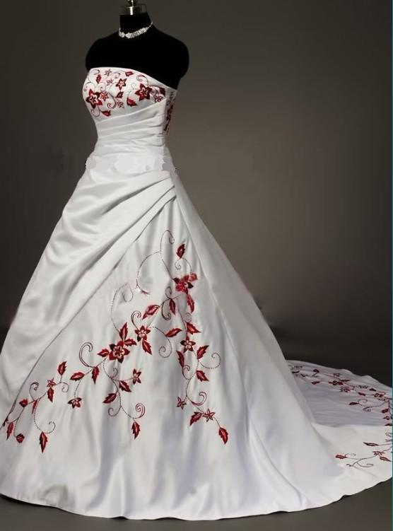 Discount Vintage White Strapless Satin With Dark Red Embroidery