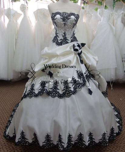 Perfect white sweetheart satin with black lace and for Black and silver wedding dress