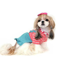 Wholesale Dog Suspender Small - Pet Beige Red Stripe Suspender Skirt Dogs Cute Cloth school uniform Trousers coat Size 2 3 4 5 6