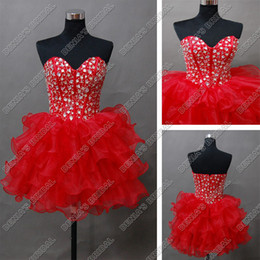 Wholesale sexy luxury dress mini - Sexy Red Sweetheart Luxury Beaded Cocktail Dresses Corset Organza Puffy Skirt Real Actual Images