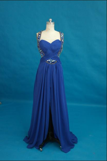Königsblau Sexy Essence Abendkleid Halfter Perlen Kristall Rüschen Chiffon Homecoming Party Abendkleid Nach Maß Lange Proms Kleid