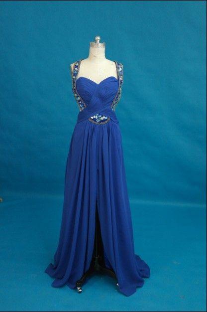 Koningsblauw sexy essentie prom jurk halter kralen kristal ruches chiffon homecoming party avondjurk op maat gemaakt lange proms jurk