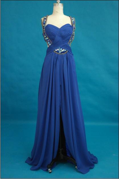 로얄 블루 섹시 본질 댄스 파티 복장 구이 홀리데이 크리스탈 루핑 쉬폰 동창회 파티 이브닝 드레스 맞춤 제작 긴 프롬 가운
