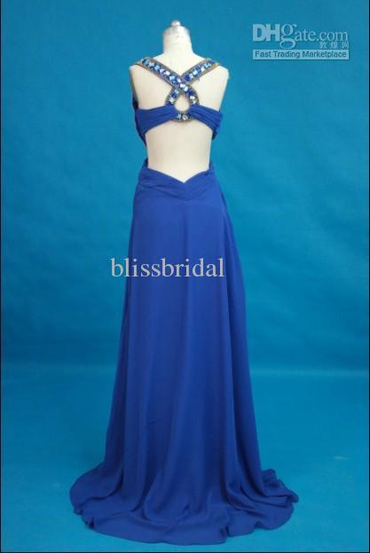 Royal Blue Sexy Essence Prom Klänning Halter Beaded Crystal Ruched Chiffon Homecoming Party Evening Dress Custom Made Long Proms Klänning