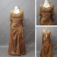 Wholesale Silver Taffeta Real - 2012 Luxury Mother Of The Brides Dresses With Long Sleeves Lace Bolero Chocolate Real Actual Images