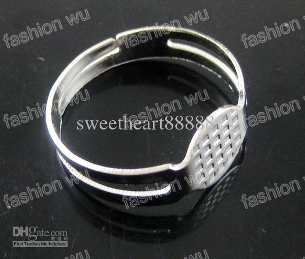 Anel redondo ajustável Base de almofada em branco 8mm Mic lote jóias diy moda venda quente item