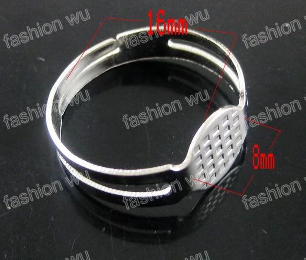 調節可能なラウンドリング空白パッドベース8mmマイクロット300個のPCSジュエリーDIYファッション熱い商品