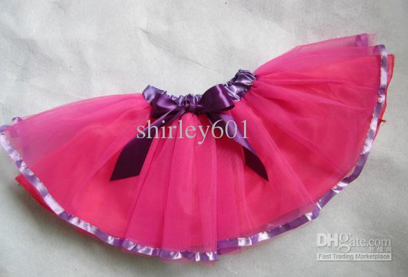 Gratis Verzending 2012 Chirstmas Nieuwe Kids Pink + Purple Bace Ribbion Ballet Tutu Pettiskirt voor meisjes