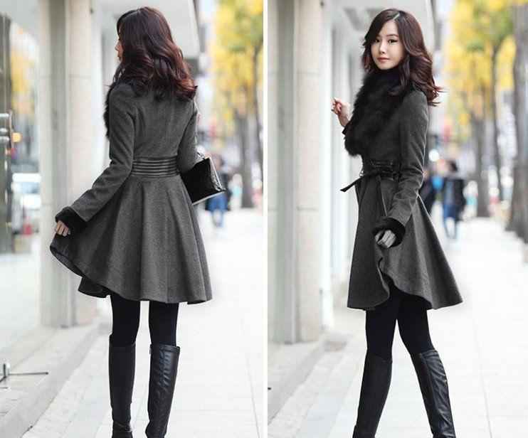 Korean Fur V Collar Pu Leather Waist, Ladies Wool Coat, Lapel Coat ...
