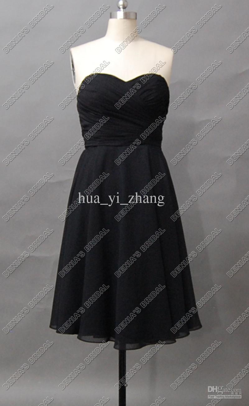 2012 elegantes schwarzes Brautjunfer-Kleid-trägerloses Schatz-Chiffon- Schärpe-Tee-Längen-tatsächliche reale Bilder