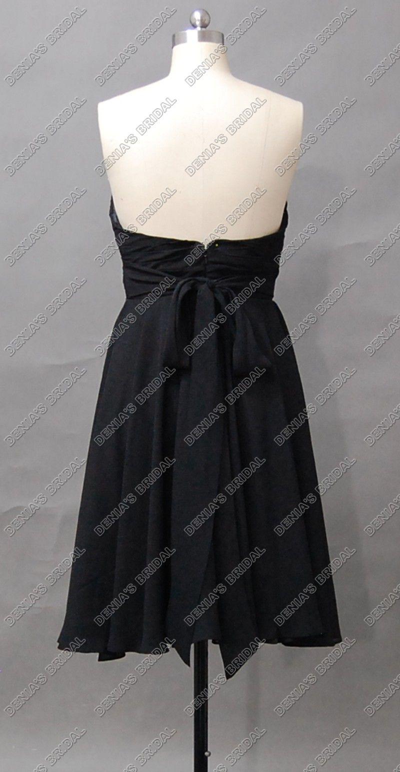 2012 Elegant Black Bridesmaid Dress Strapless Sweetheart Chiffon Sash Tea Längd Faktiska Real Images