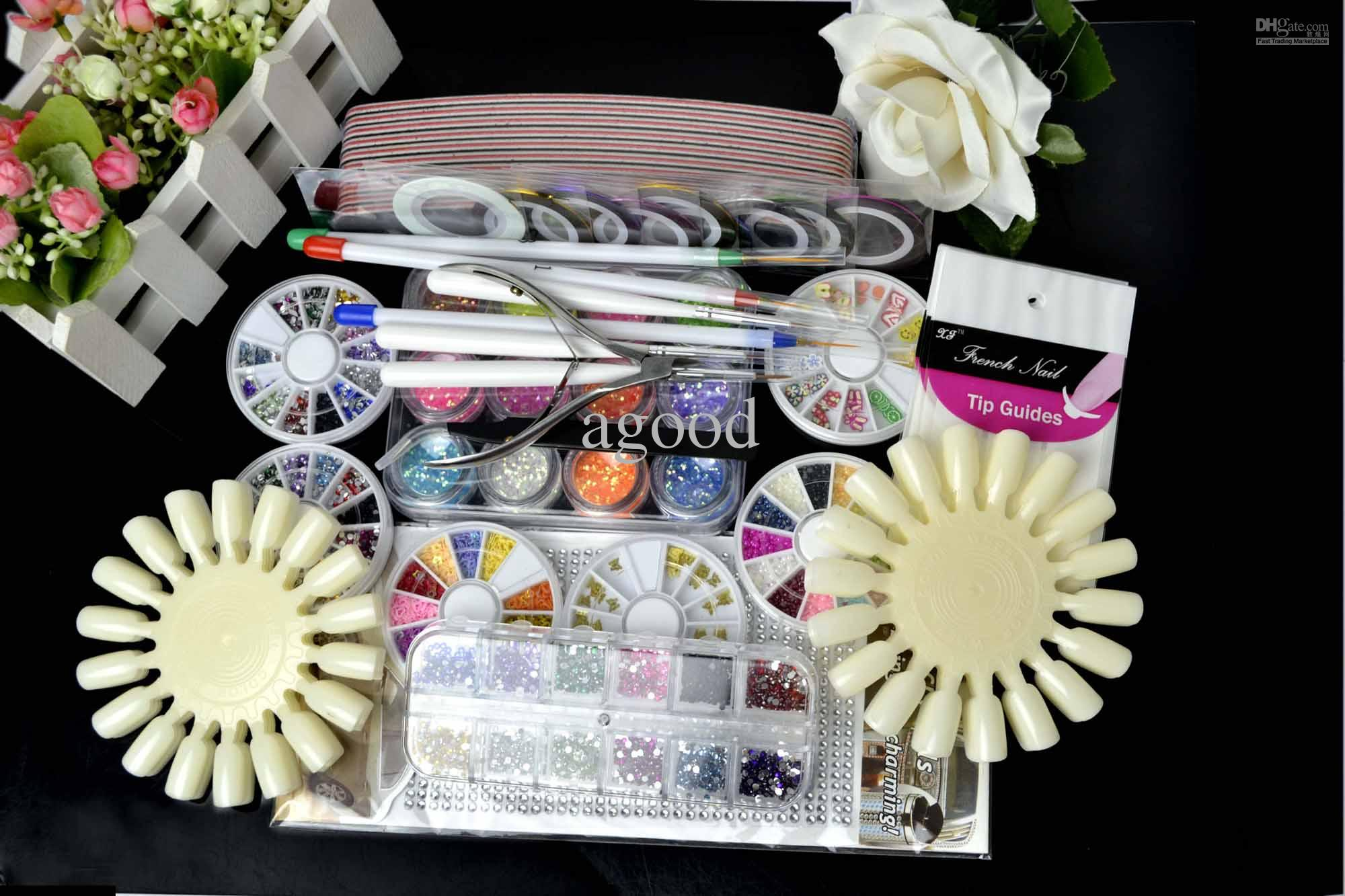 Nail Art Tips Kit Set Diy Acrylic Decorations Stickers Brush Beauty ...