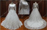 Wholesale Straight Strapless Wedding Dress - Long Sleeves Luxury Straight Neckline Wedding Dresses NEW Organza Lace Applique Ribbon Sash Dress