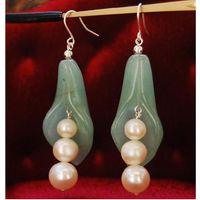 Wholesale Pearl Jade Flower Earrings - New Arrive Jewelry Christmas Gift ! Genuine Freshwater Pearl & Green Jade Flower Earring S925 Silver