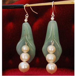 jade plant flowers 2019 - New Arrive Jewelry Christmas Gift ! Genuine Freshwater Pearl & Green Jade Flower Earring S925 Silver cheap jade plant fl