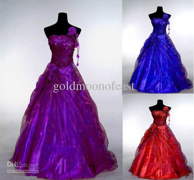 Purple Red Royal Blue One Shoulder Pleated Organza A Line Flower Tassel Ball Gown Bridesmaid Dresses