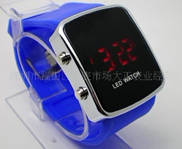 Wholesale Plastic Display Screen - Unisex Mens LED Digital Display Watch candy Women's Touch Screen Silicone Mirror Cool Sport Watches