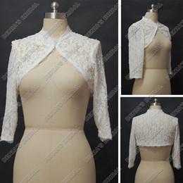Wholesale Long Sleeve Alencon Lace Bolero - Vintage Lace Wedding Wraps Jacket Long Bolero Ivory White French Alencon Lace Real Actual Images