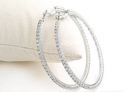 Wholesale Big Hoop Earrings Basketball Wives - Silvertone Big Circle lady's Basketball Wives Hoop Earrings With Crystal Rhinestone Dangle Earring