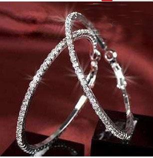 Silvertone 빅 서클 레이디의 농구 아내 크리스털 라인 석 귀걸이 후프 귀걸이