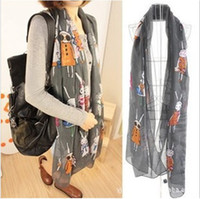 Wholesale Rabbit Print Shawl - New Women's Fashion Jewelry love's rabbit Long Wrap Shawl Beach Silk Scarf
