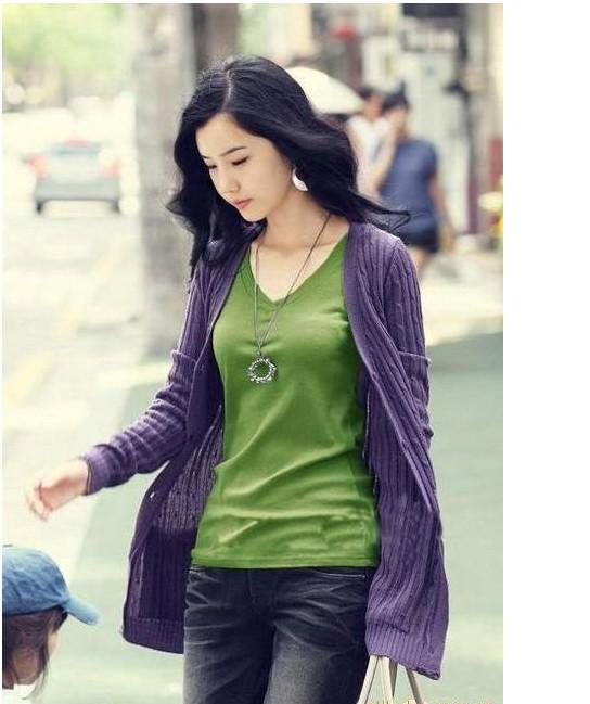 도매 - 캔디 색상 100 % 리브 코튼 V 넥 긴 소매 여성 솔리드 컬러 베이직 티셔츠