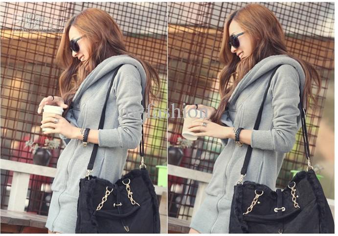 Nieuwe Korea Casual Long Thicken Fleece Dames Hoodies Sweatshirts Zip Up Slanke Fit Warme Jas